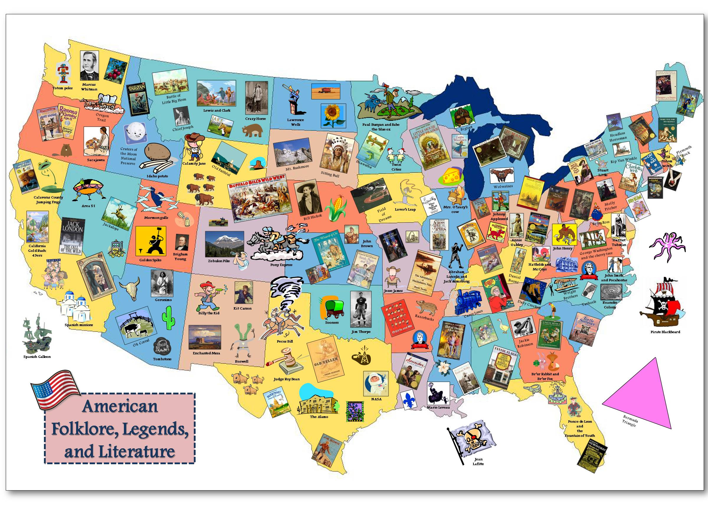 American Folklore And Legends Map - Us resource map