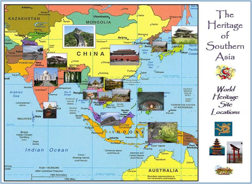 Heritage of Southern Asia map