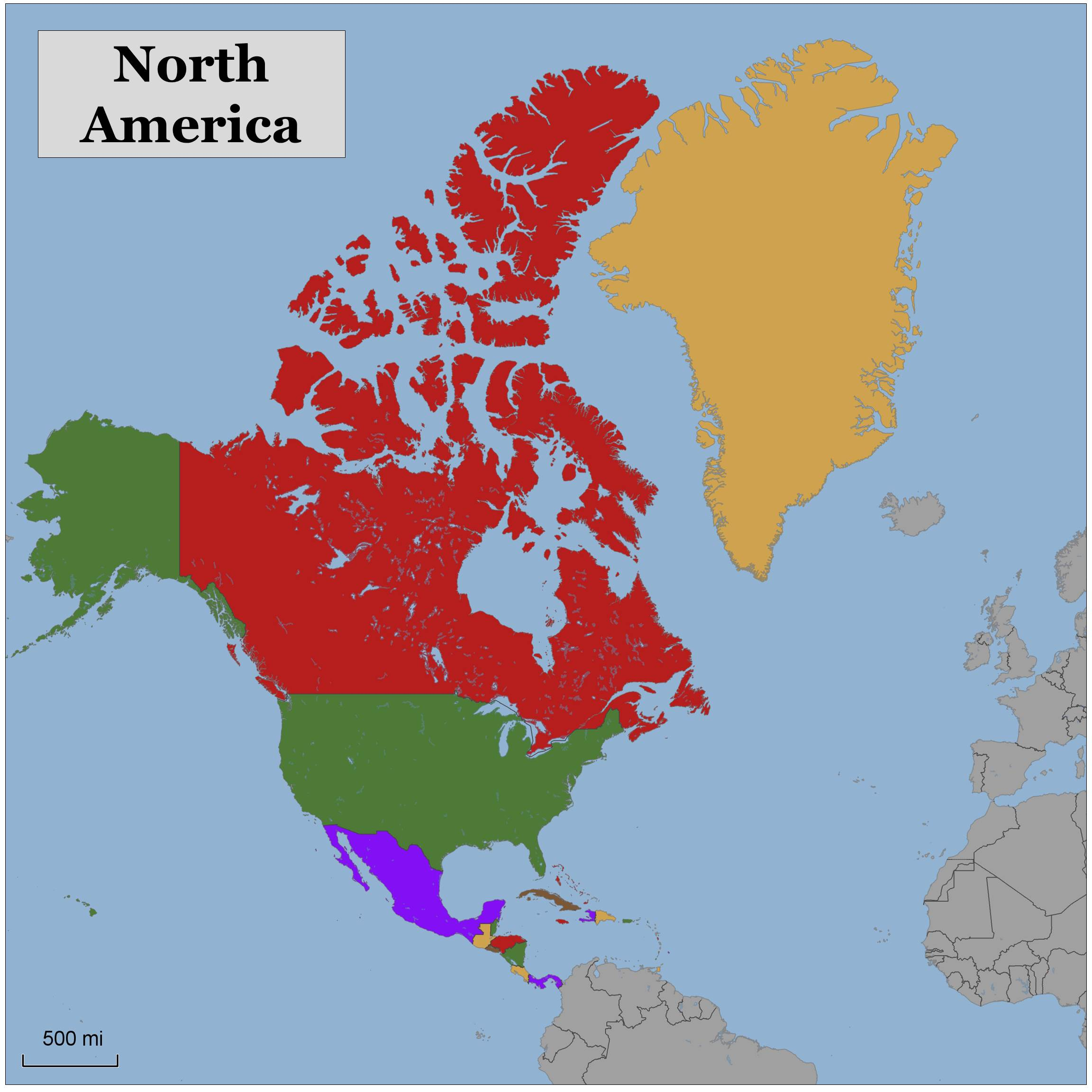 blank color map north america