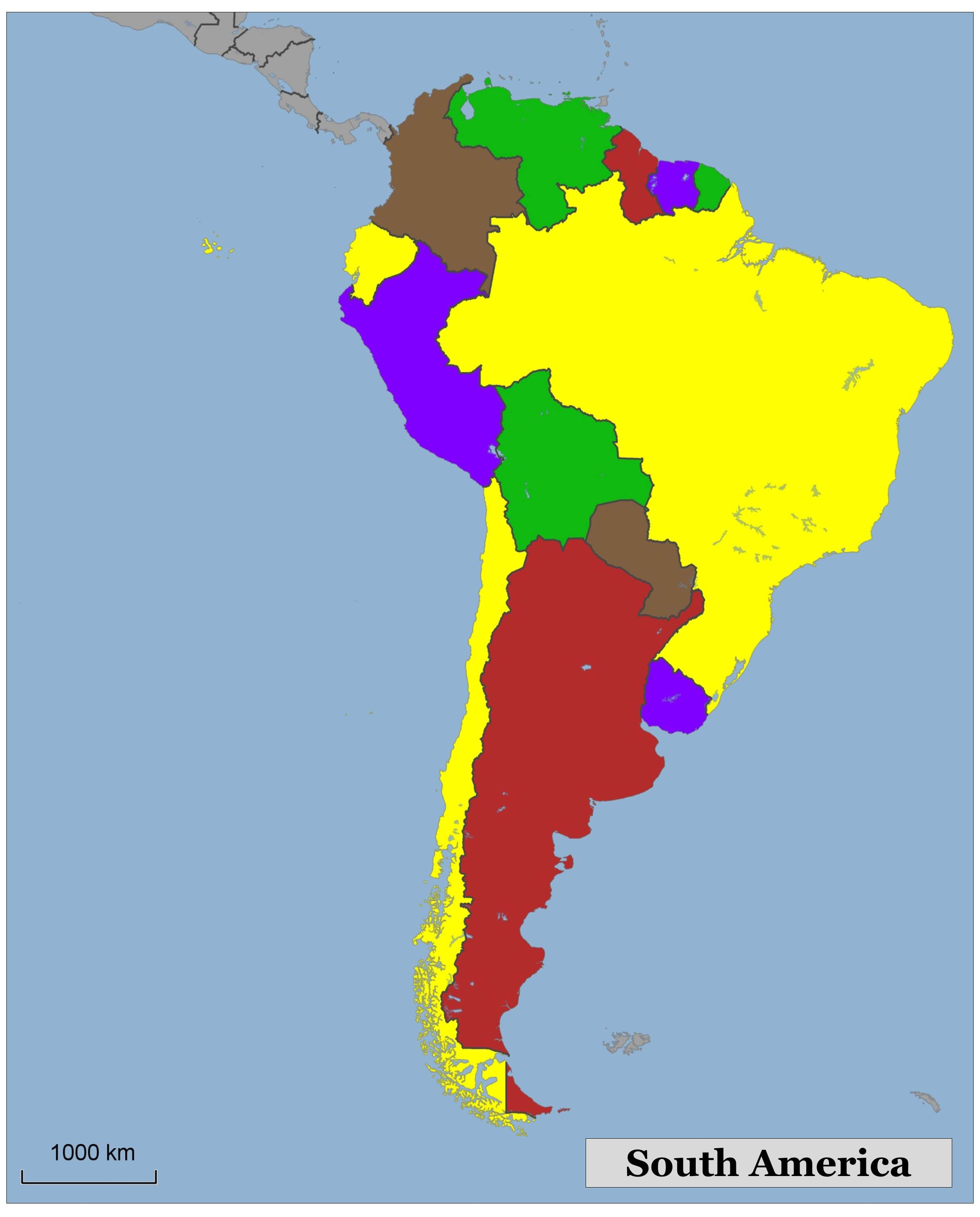 Blank color map of South America
