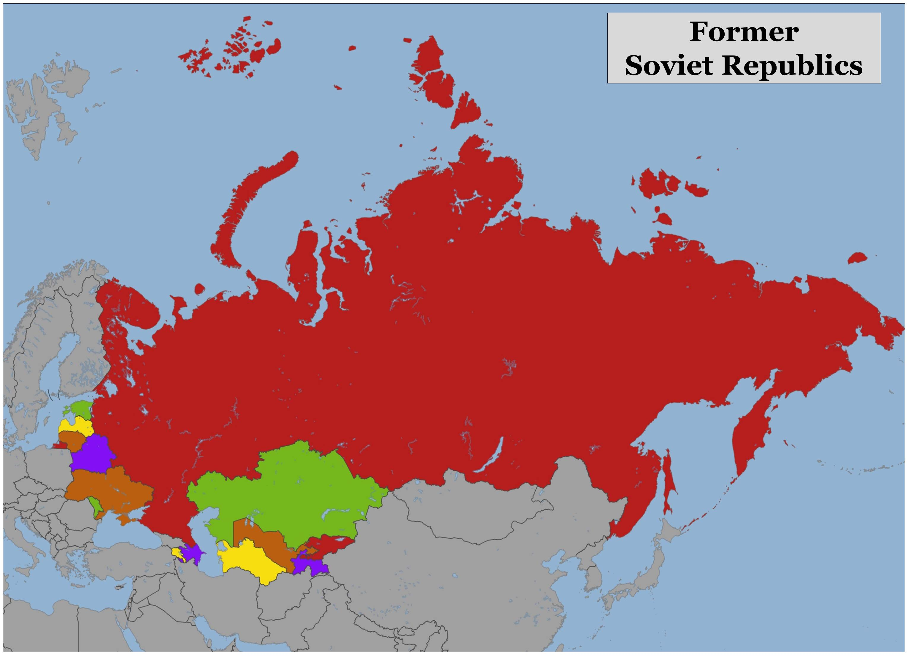 Blank Color Map of the Former Soviet