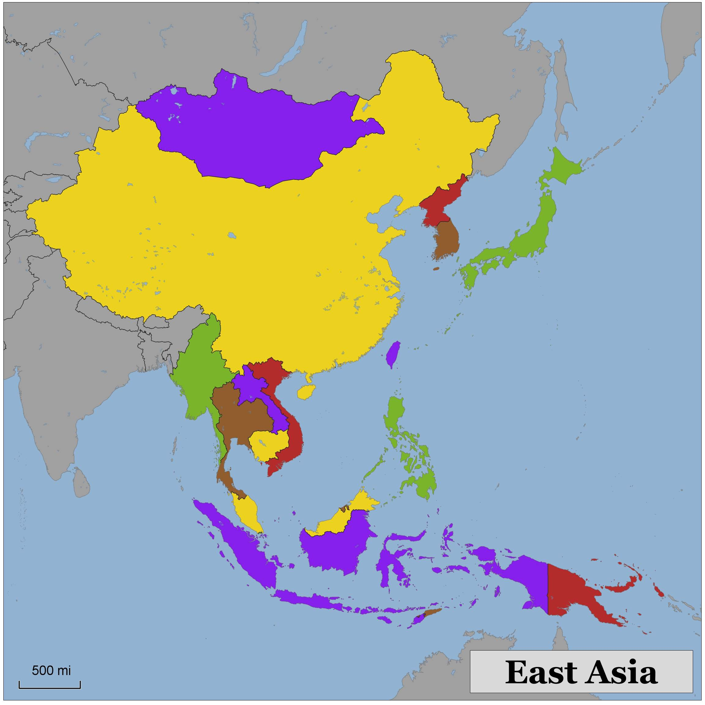 Asia Map Coloring.Blank Color Map Of Eastern Asia