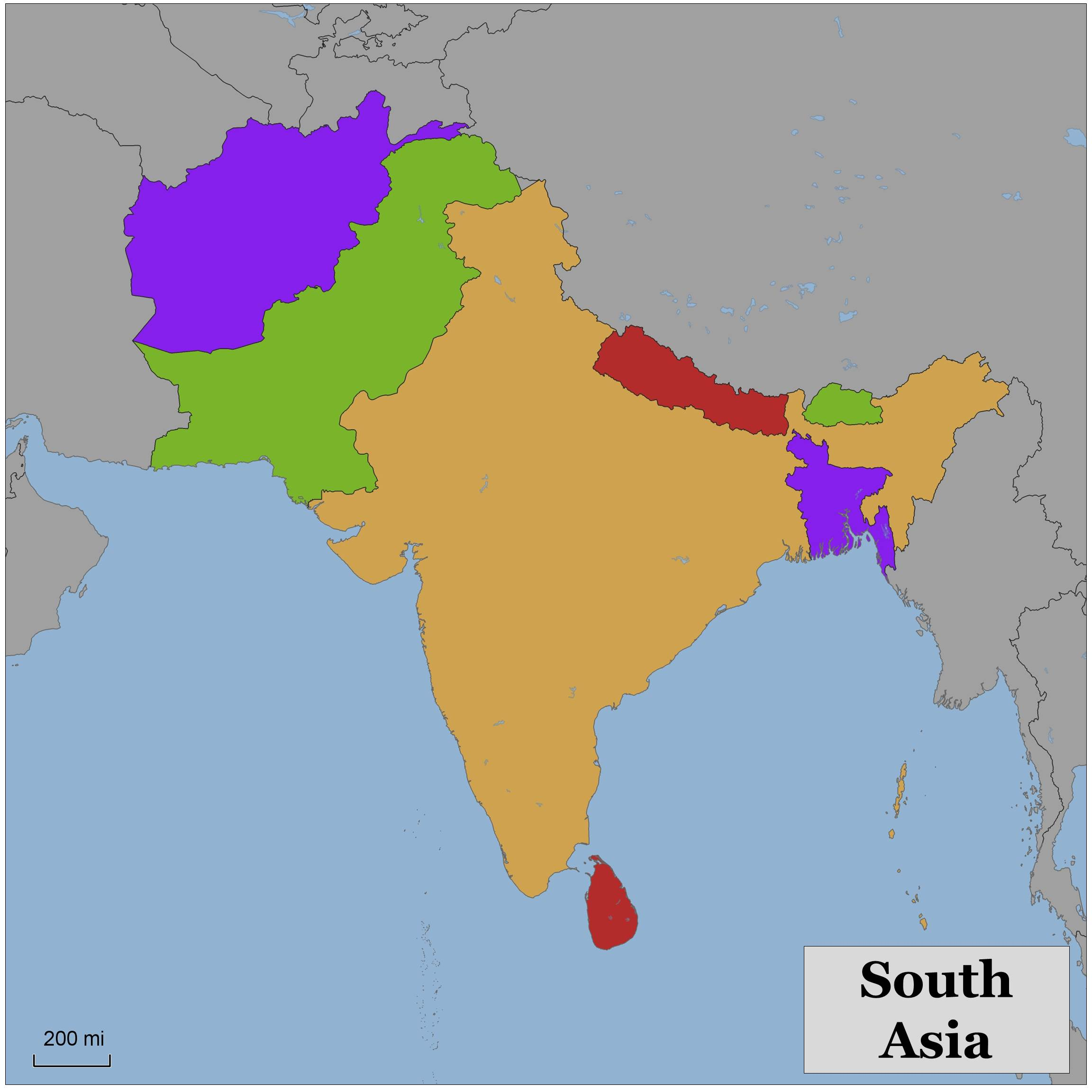 Blank Color Map Of South Asia - South asia map