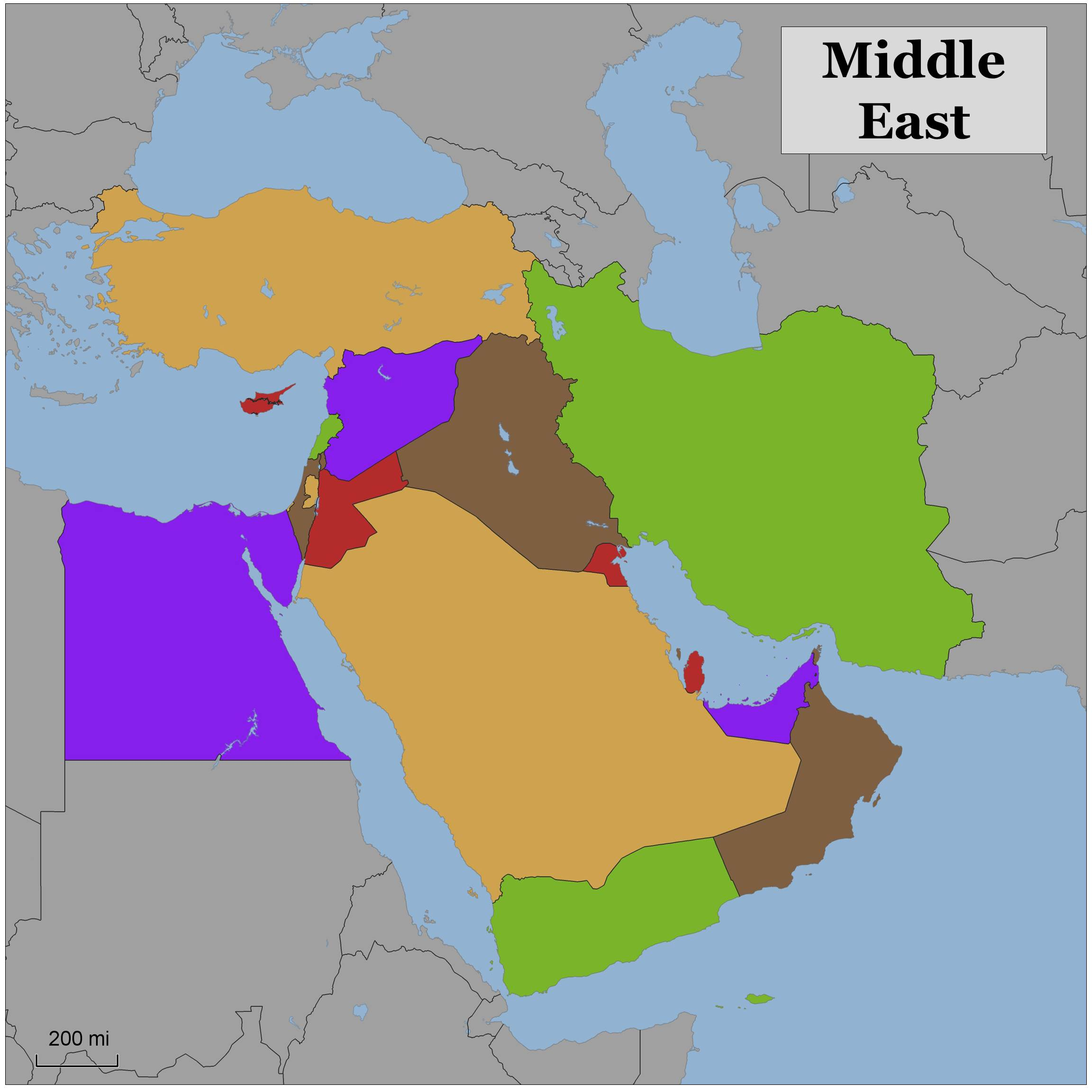 Blank color map of the Middle East